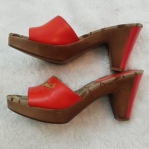 Coach Shoes - Coach Kathie Orange Sz 7.5 Wooden Platform Sandals